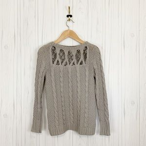 LC LAUREN CONRAD Gray Chunky Cable Knit Sweater S